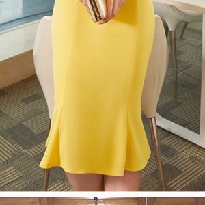Yellow dress 8 no stretch pencil vintage